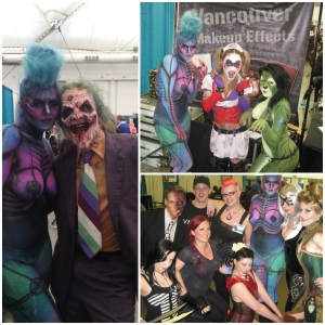 Collective work by Vancouver Makeup Effects. Bottom right Dallas Harvey, Jennifer Little, Tracy Cake, the Soska Twins, Madeline Masquerade, and Tristan Risk