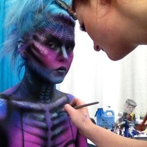 Jennifer Little working on final touches